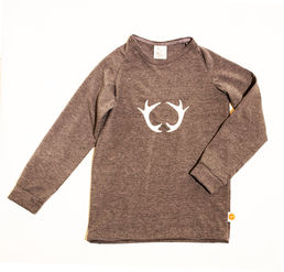 REINDEER HORNS children's shirt, grey